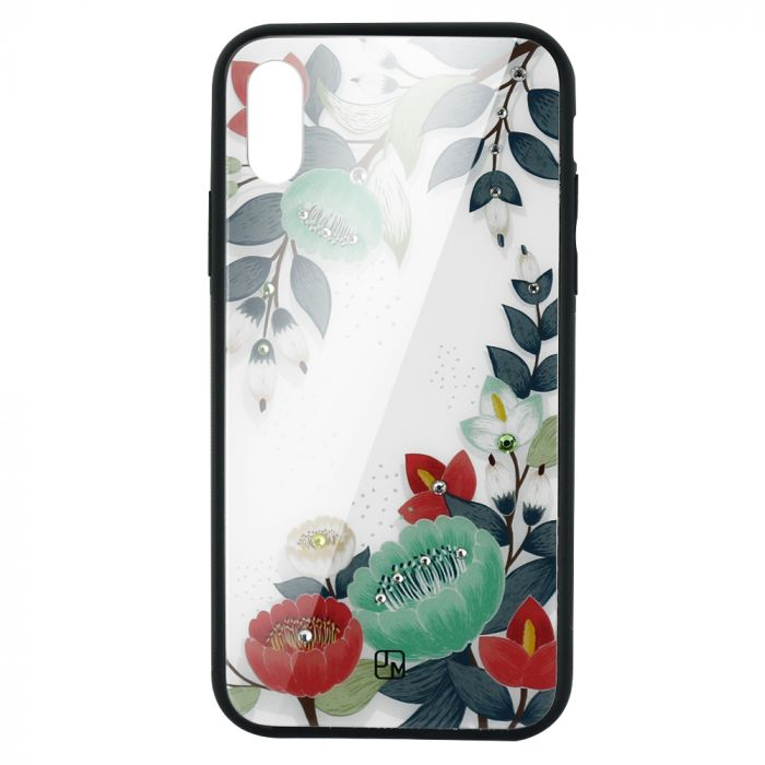 Carcasa Sticla iPhone XS Just Must Glass Diamond Print Orange & Green Flowers