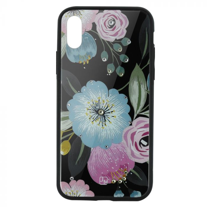 Carcasa Sticla iPhone XS Just Must Glass Diamond Print Flowers Black Background