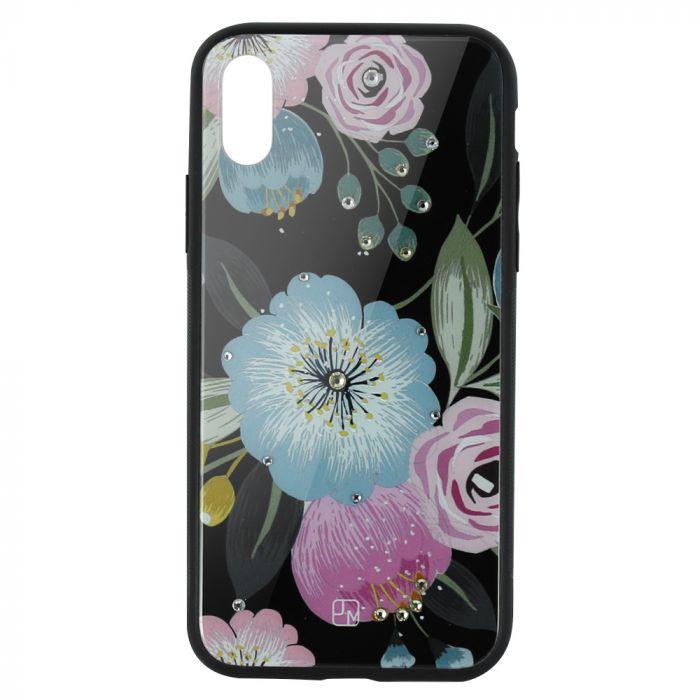 Carcasa Sticla iPhone XS Max Just Must Glass Diamond Print Flowers Black Background