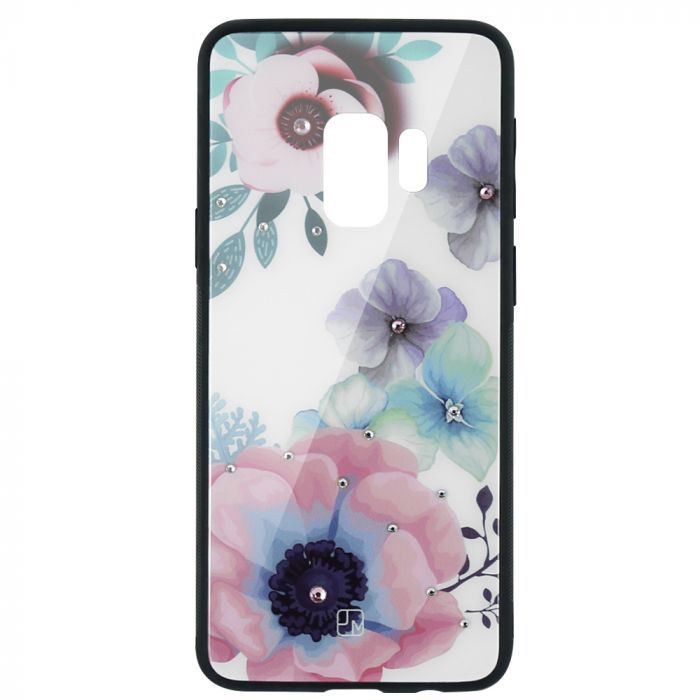 Carcasa Sticla Samsung Galaxy S9 G960 Just Must Glass Diamond Print Flowers White Backgound