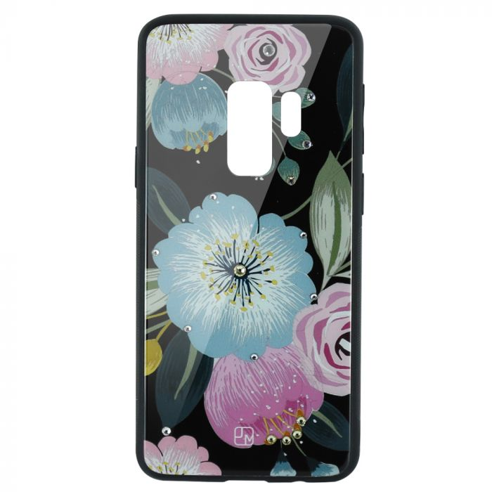 Carcasa Sticla Samsung Galaxy S9 Plus G965 Just Must Glass Diamond Print Flowers Black Background
