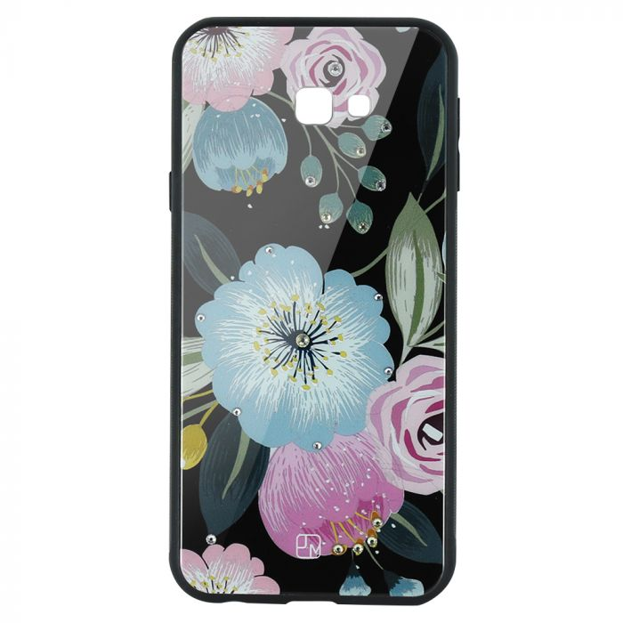 Carcasa Sticla Samsung Galaxy J4 Plus Just Must Glass Diamond Print Flowers Black Background