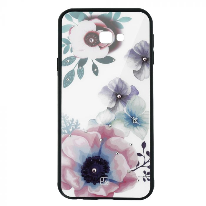 Carcasa Sticla Samsung Galaxy J4 Plus Just Must Glass Diamond Print Flowers White Backgound
