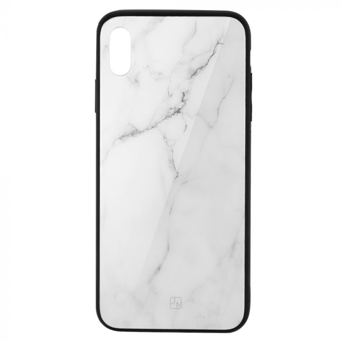 Carcasa Sticla iPhone XS Just Must Glass Print White Marble