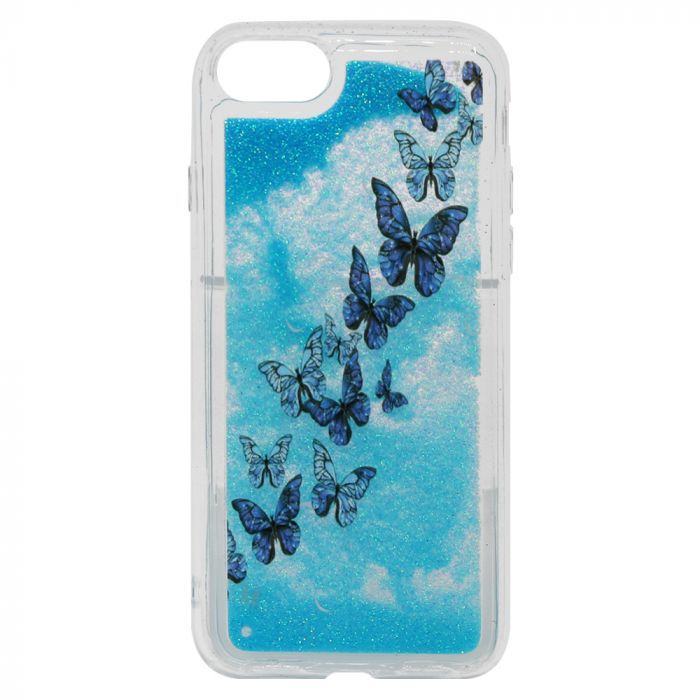 Carcasa iPhone SE 2020 / 8 / 7 Lemontti Liquid Sand Butterflies Glitter