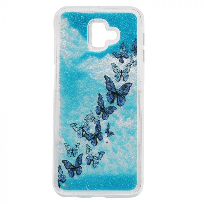 Carcasa Samsung Galaxy J6 Plus Lemontti Liquid Sand Butterflies Glitter