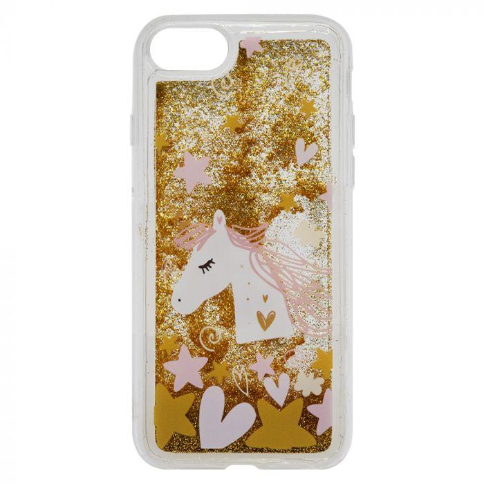 Carcasa iPhone 8 / 7 Lemontti Liquid Sand Unicorn Glitter