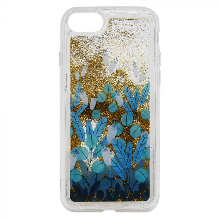 Carcasa iPhone 8 / 7 Lemontti Liquid Sand Blue Flowers