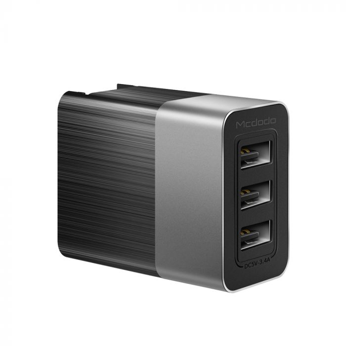 Incarcator Retea 3.4A Mcdodo 3 Ports USB Travel Black
