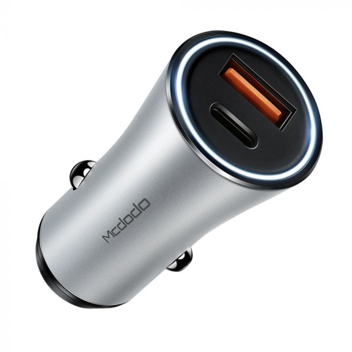 Incarcator Auto Type-C si USB Mcdodo Quick Charger Silver