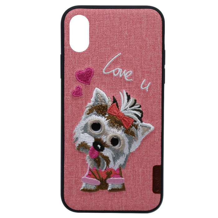 Carcasa iPhone XS / X Comma Embroidery Pink Puppy