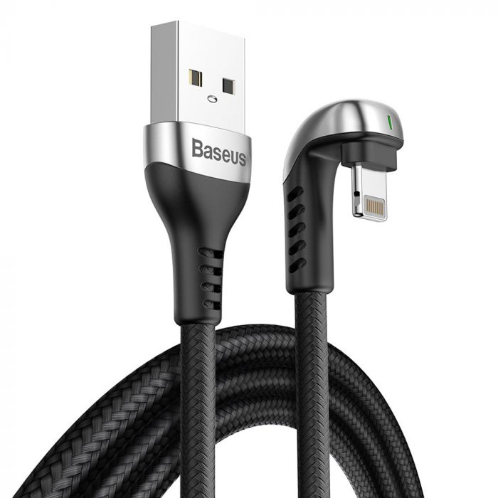 Cablu Lightning Baseus Green U-Shaped Lamp Mobile Game Cable Black (1m, output 2.4A, impletitura tex