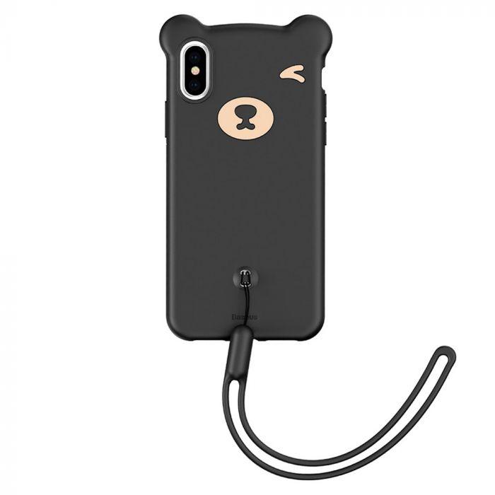Husa iPhone XS / X Baseus Silicon Bear Black