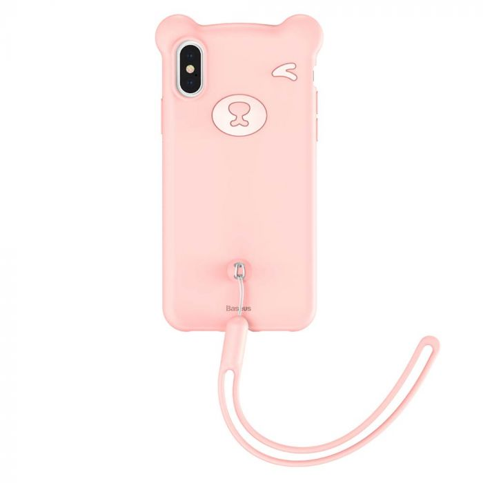 Husa iPhone XS / X Baseus Silicon Bear Pink