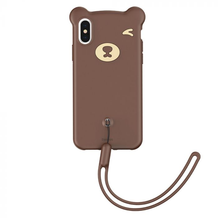 Husa iPhone XS Max Baseus Silicon Bear Brown
