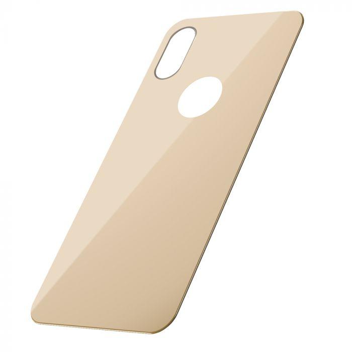 Folie iPhone XS Baseus Sticla Curbata pentru spate Gold (1 fata, 9H, 0.3mm)