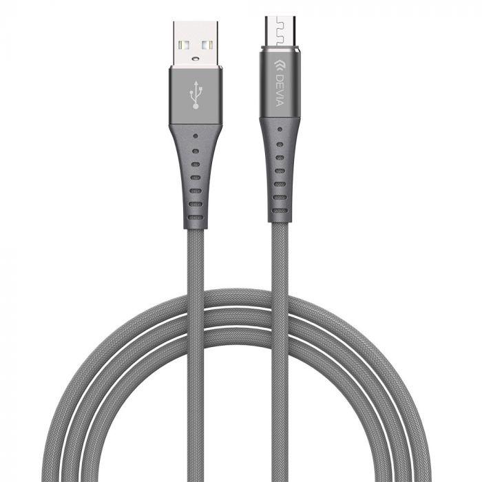 Cablu MicroUSB Devia Braid Series Silver