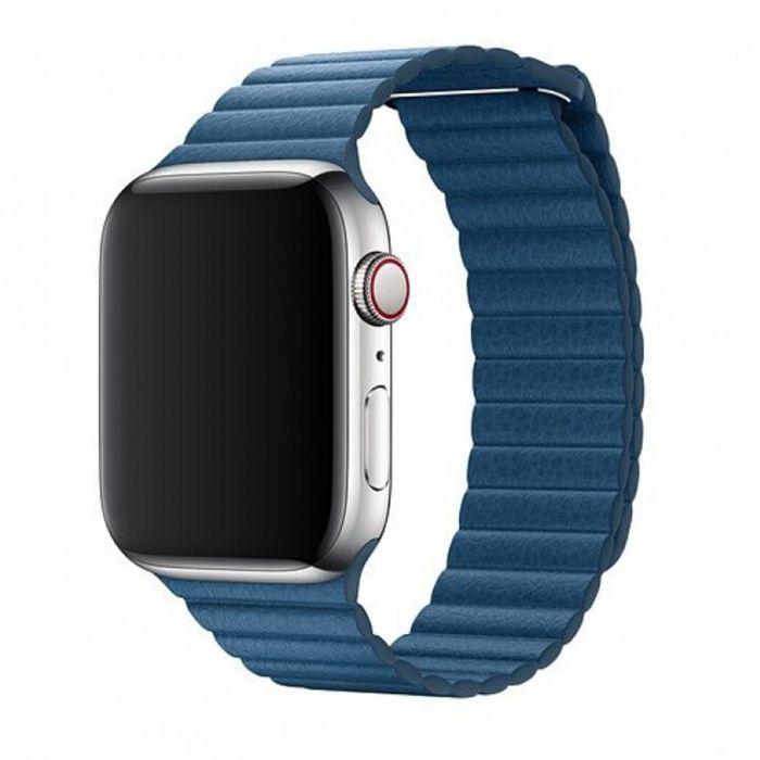 Curea Apple Watch 4 38mm / 40mm Devia Elegant Leather Loop Cape Cod Blue