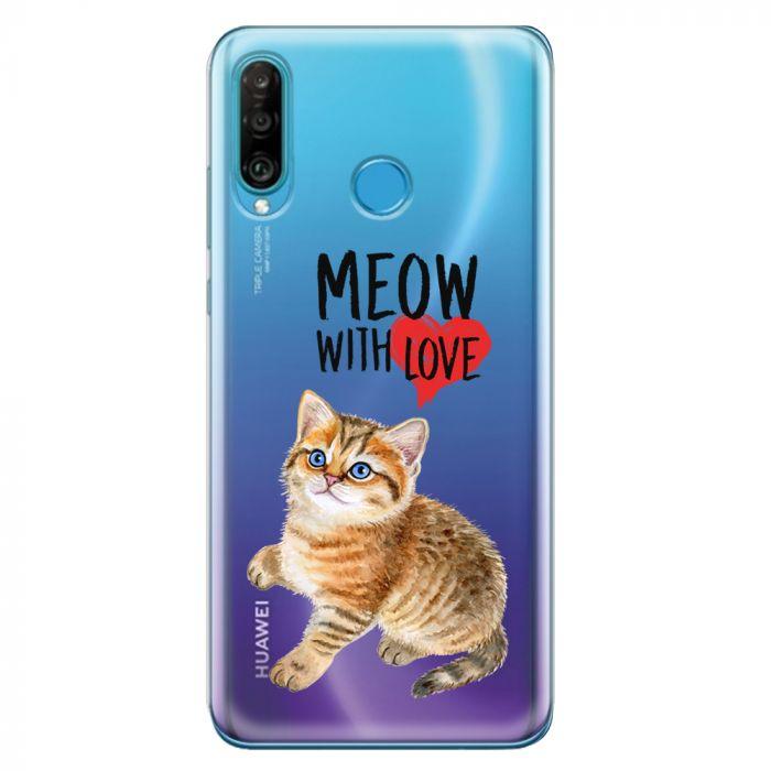 Husa Huawei P30 Lite Lemontti Silicon Art Meow With Love