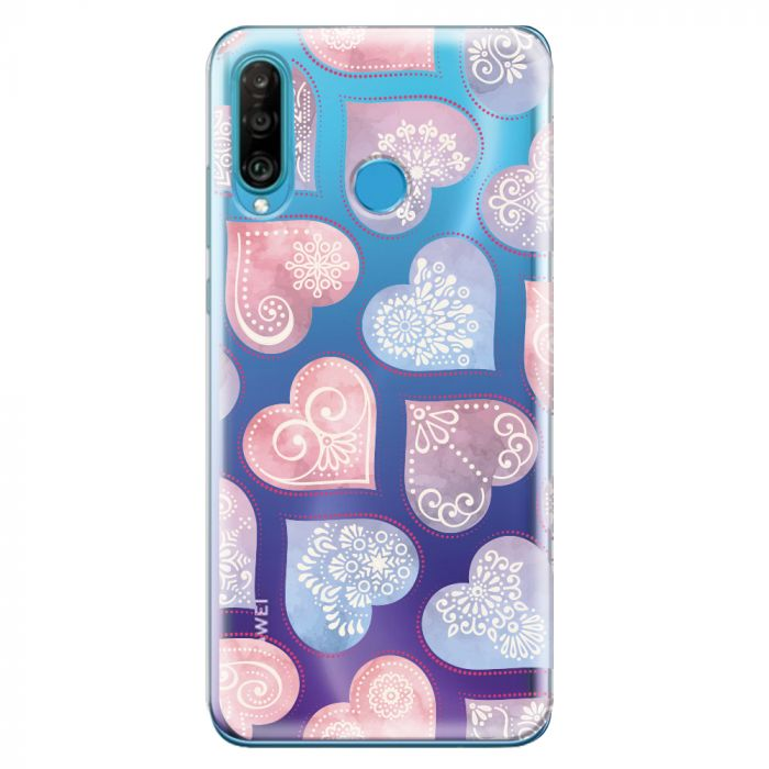 Husa Huawei P30 Lite Lemontti Silicon Art Hearts
