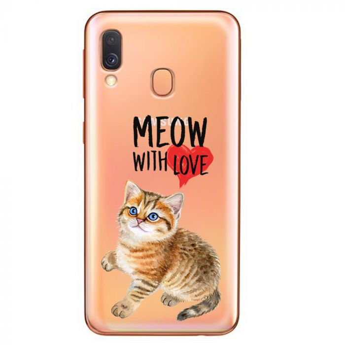 Husa Samsung Galaxy A40 Lemontti Silicon Art Meow With Love