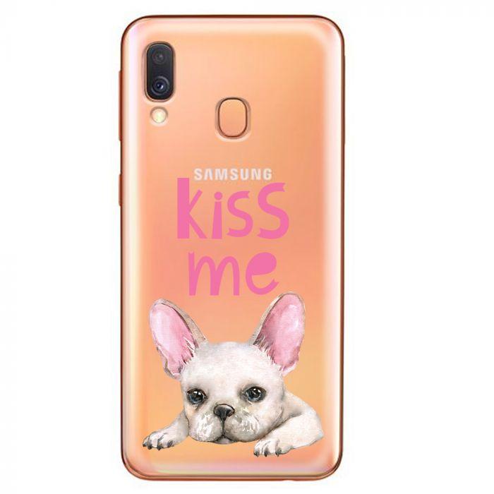 Husa Samsung Galaxy A40 Lemontti Silicon Art Pug Kiss