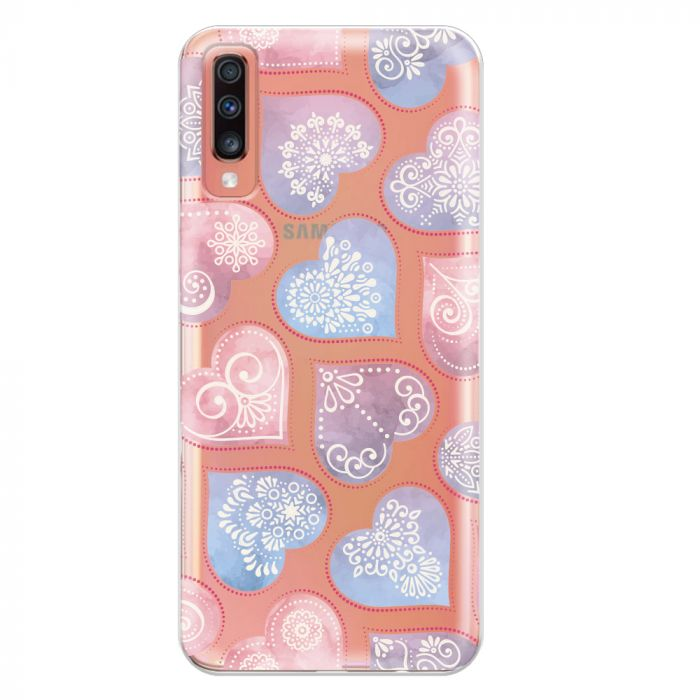 Husa Samsung Galaxy A70 Lemontti Silicon Art Hearts