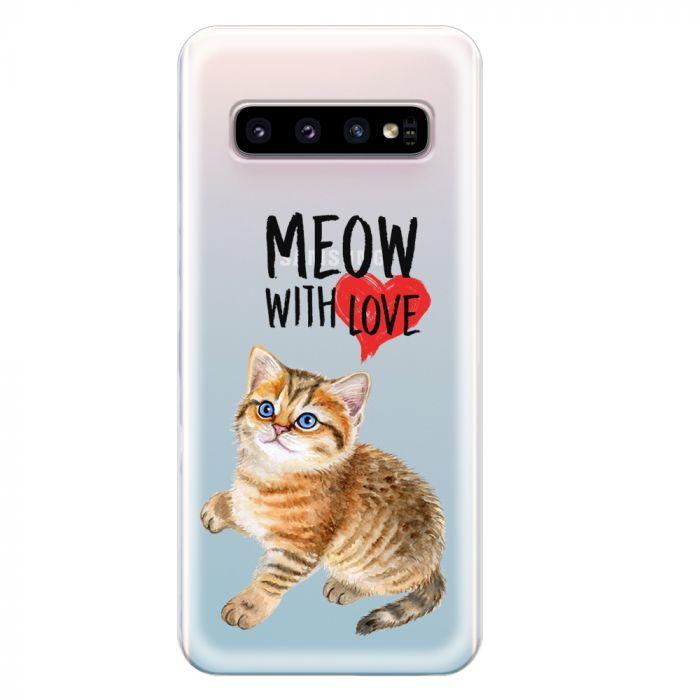 Husa Samsung Galaxy S10 G973 Lemontti Silicon Art Meow With Love