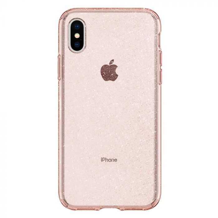 Husa iPhone XS / X Spigen Liquid Crystal Glitter Rose Quartz