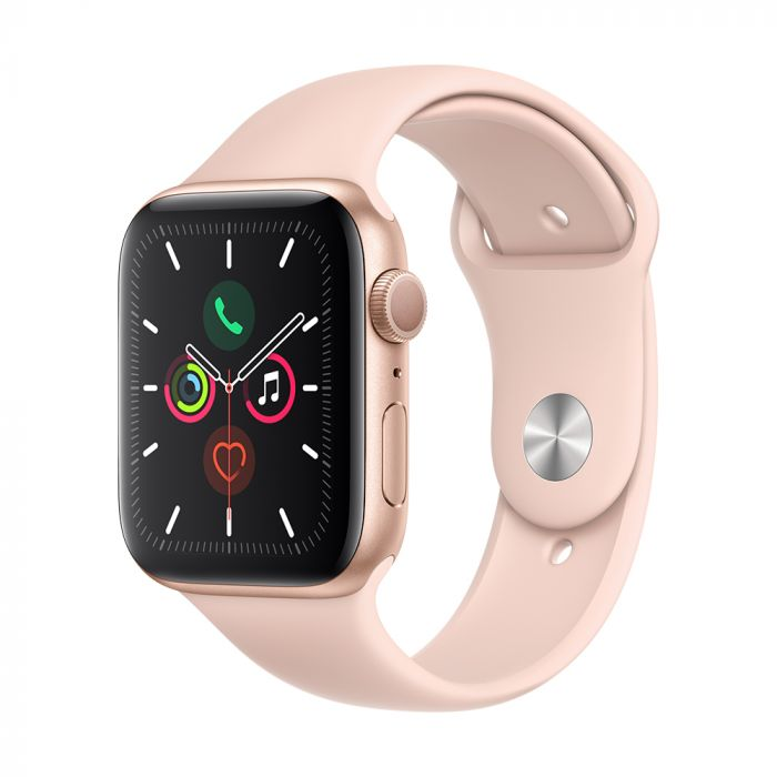 Apple Watch 5 GPS Gold Aluminium Case 44mm cu Pink Sand Sport Band