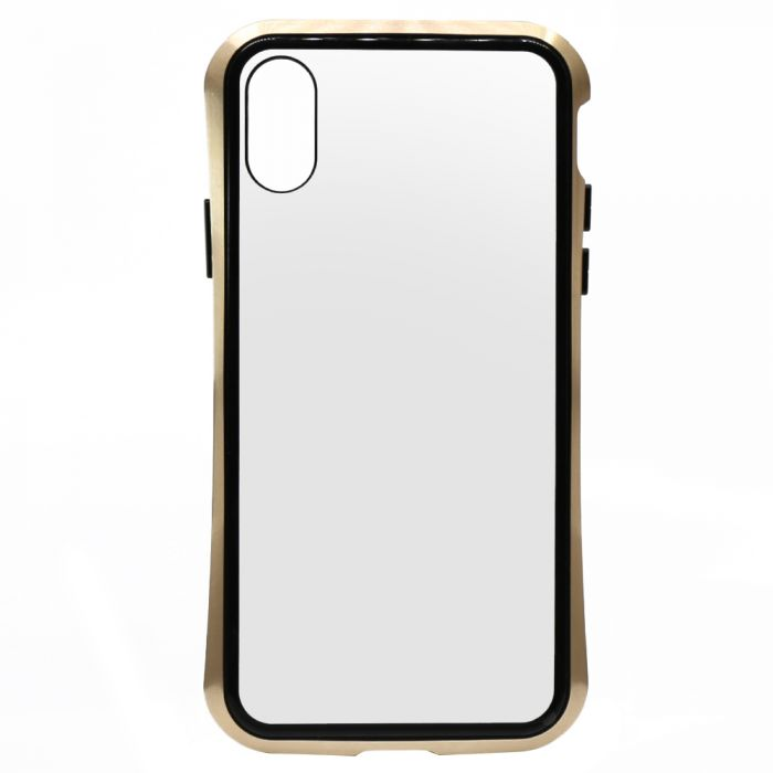 Carcasa iPhone XS Meleovo Magnetica Back Glass Gold