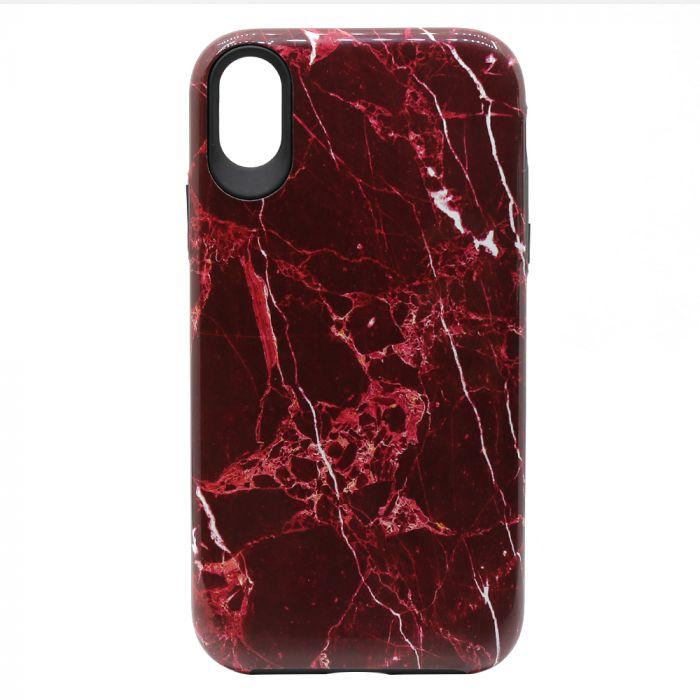 Carcasa iPhone XR Meleovo Marble Dual Layer Red