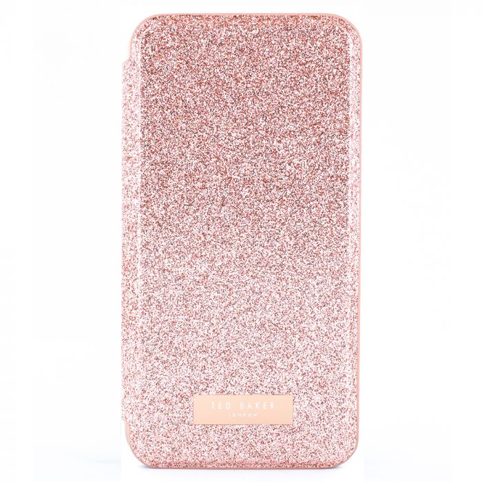 Husa iPhone XS / X Ted Baker Book Glitsyy Mirror Folio Rose Gold