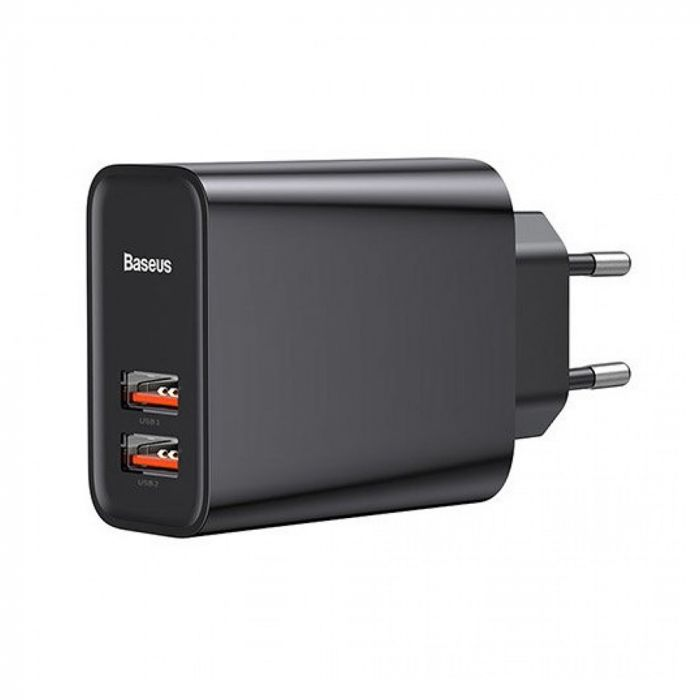 Incarcator Retea Baseus Speed Dual QC3.0 Quick Charger 30W Black