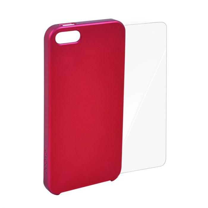 Carcasa iPhone SE/5S Odoyo Glitter Burgundy (folie inclusa)