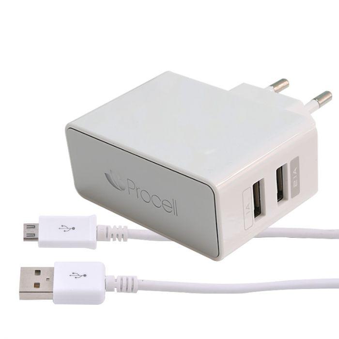 Incarcator Retea 2.1A Dual USB Procell cu cablu MicroUSB