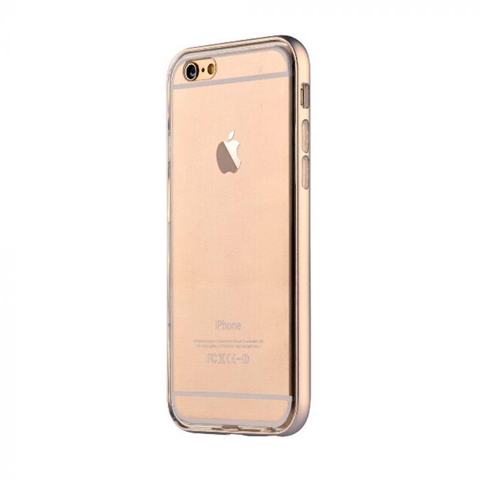Husa iPhone 6 Devia Silicon Fresh Champagne Gold (cu bumper aluminiu)