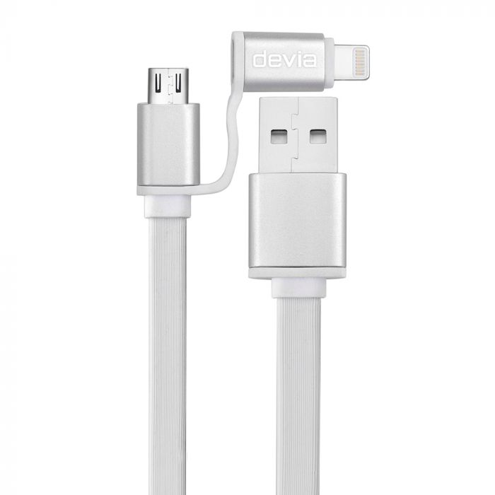 Cablu Lightning si MicroUSB Devia Magic 2 in 1 White (sincronizare si incarcare)