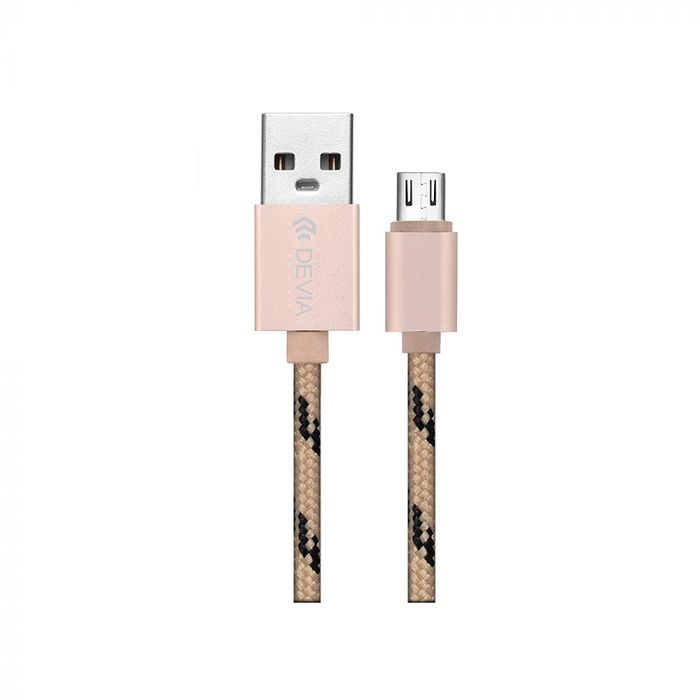 Cablu MicroUSB Devia Fashion Gold 1m (impletitura textila)