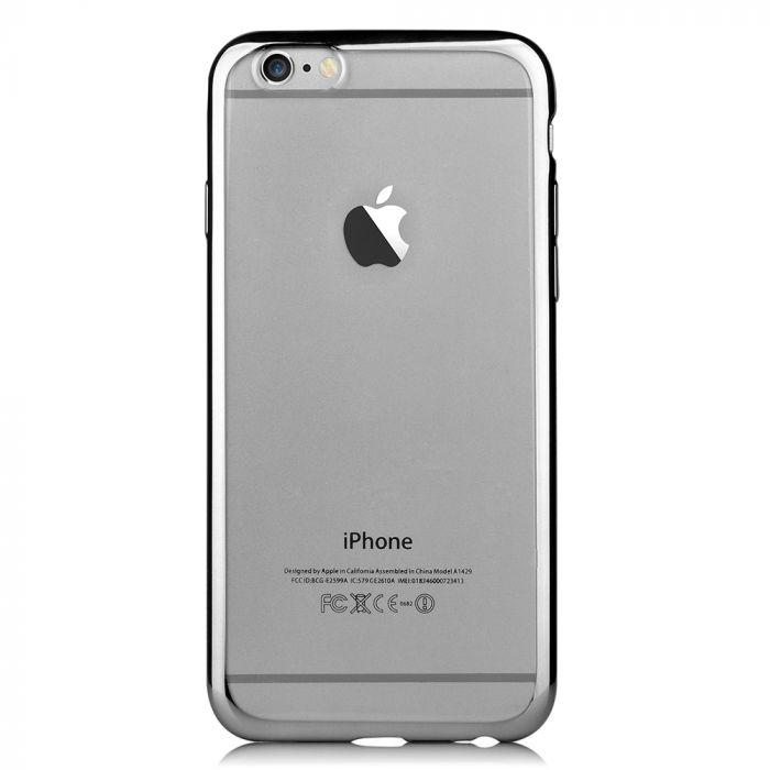 Husa iPhone 6/6S Devia Silicon Glitter Soft Gun Black (margini electroplacate)