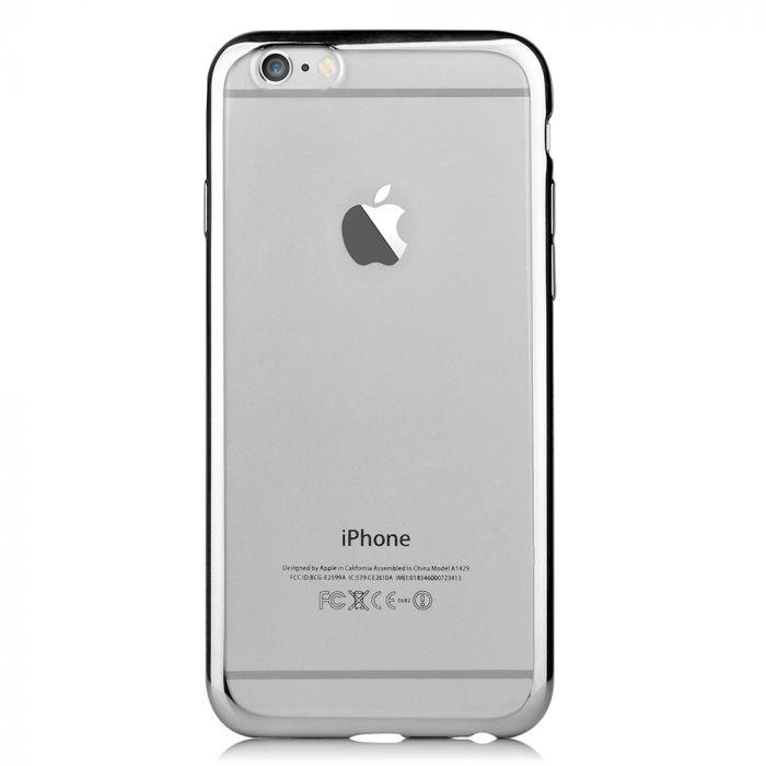 Husa iPhone 6/6S Devia Silicon Glitter Soft Silver (margini electroplacate)