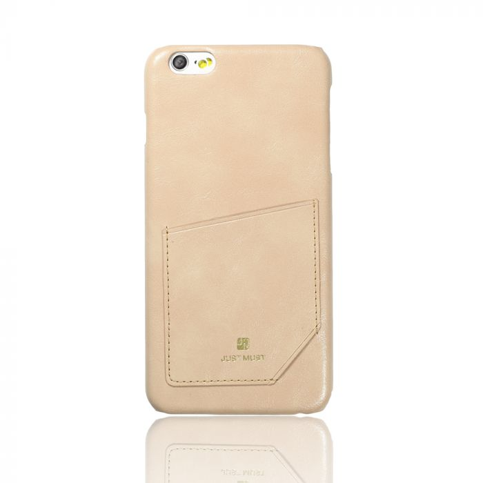 Carcasa iPhone 6 Plus Just Must Chic Beige (cu buzunar)