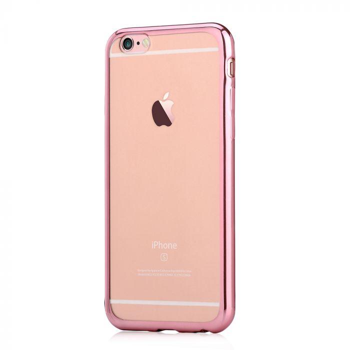 Husa iPhone 6/6S Devia Silicon Glitter Soft Rose Gold (margini electroplacate)