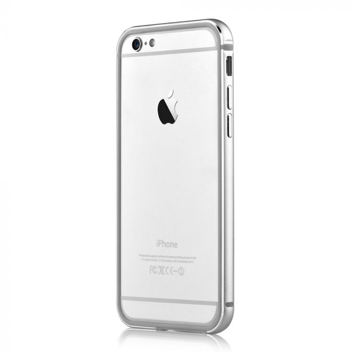 Bumper iPhone 6/6S Devia Mighty Silver (aluminiu + silicon, protectie 360�)
