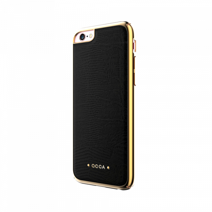 Carcasa iPhone 6/6S Occa Lizard Black (piele naturala, protectie margine 360�)