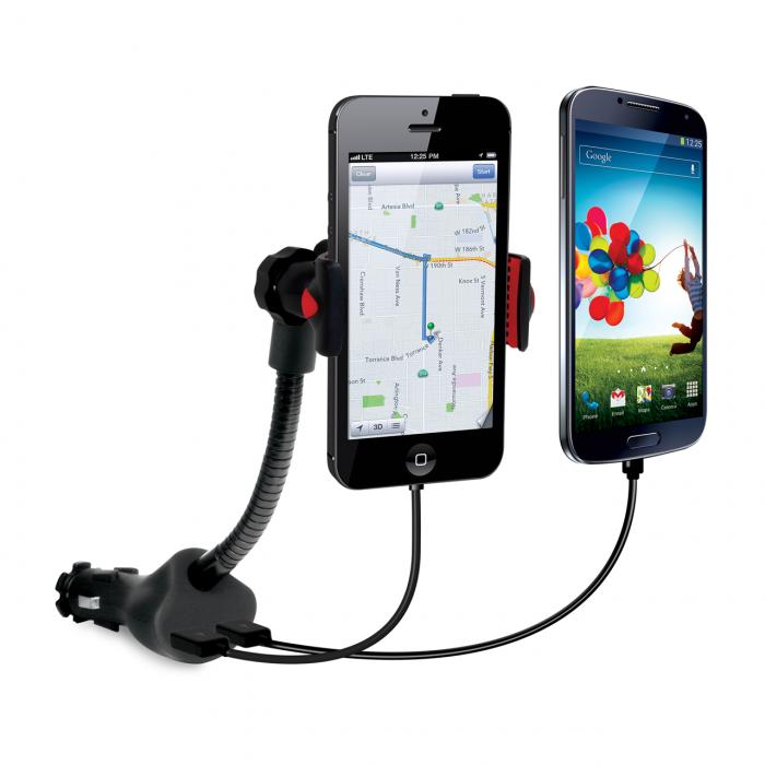Incarcator Auto 2.1A Universal iSound Dual USB + Suport (cablu audio inclus)