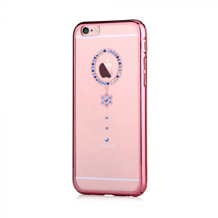 Carcasa iPhone 6/6S Comma Crystal Camelia Rose Blue Diamond (Cristale Swarovski�, electroplacat, pro