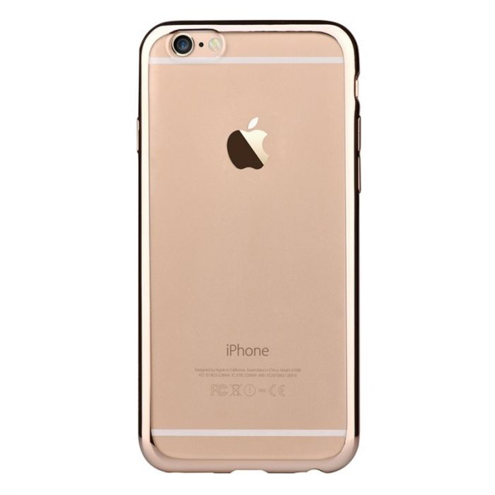 Husa iPhone 6 Plus Devia Silicon Glitter Soft Champagne Gold (margini electroplacate)