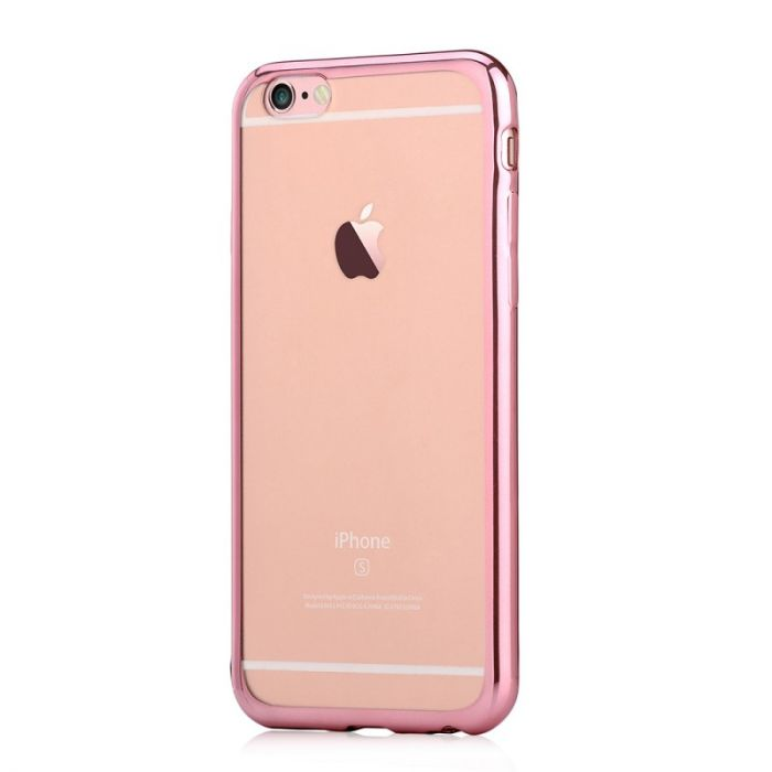 Husa iPhone 6 Plus Devia Silicon Glitter Soft Rose Gold (margini electroplacate)