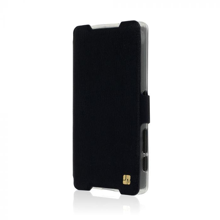Husa Sony Xperia Z5 Compact Just Must Book Slim Negru (silicon in interior)